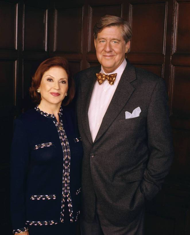 Emily and Richard Gilmore pose looking at the camera