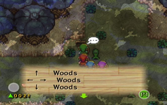 The Four Links stand at a sign in the Lost Woods telling them the woods continues in North, East, West, and the South.