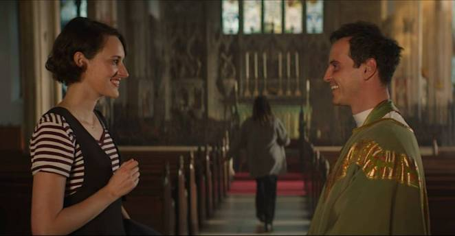 Fleabag and The Priest have a conversation after church service