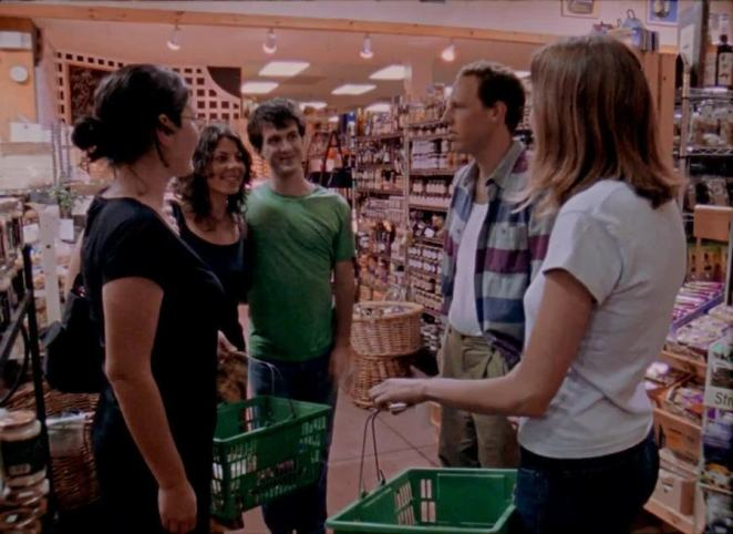 Marnie runs into her friends Rachel, Dave, and Alex, and Alex's new wife Nina, at the grocery store in Funny Ha Ha.