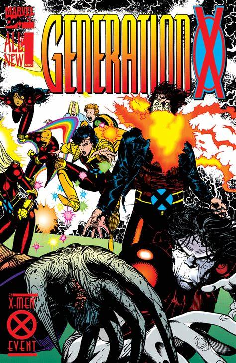 The Generation X #1 cover has the team scattered about the page in action shots. Skin is closest with his stretchy hand, Chamber is right of center with the traditional explosion coming from his chest, The rest of the team, including M, Jubilee and Banshee appear to be flying back and to the left.