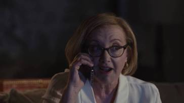 Gerri speaking to Roman on the phone, realizing he's aroused.