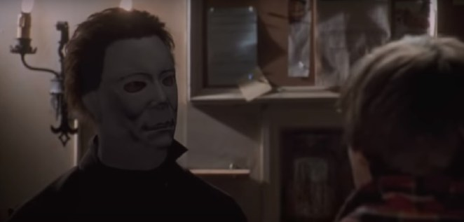 A shot from a scene where Micheal's mask expression is completely different.