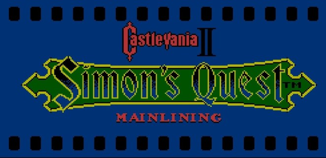 Castlevania II: Simon's Quest title card with Mainlinging in 8 bit font below