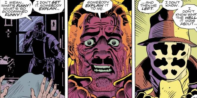 Three frames from Watchmen DC comic that depict Moloch the Mystic telling Rorschach about the night the Comedian broke into his apartment.