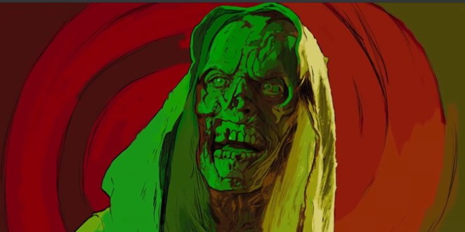 A stylized close up image of The Creep from Creepshow with corpse-like face and swirling red and green background.