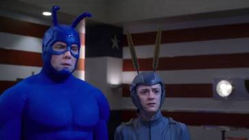 The Tick and Arthur, in the Flag 5 headquarters, looking stunned.