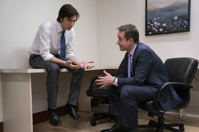 Greg makes awkward admissions to Tom while locked in a safe room in HBO's Succession