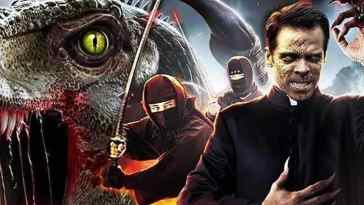 A dinosaur, ninjas, and the titular Velcoipastor feature in a promo image for the film