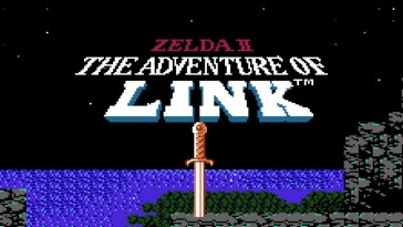 Zelda II The Adventure of Link title scene and logo. A sword is lodged in a mountain, with a vast body of water in the background.