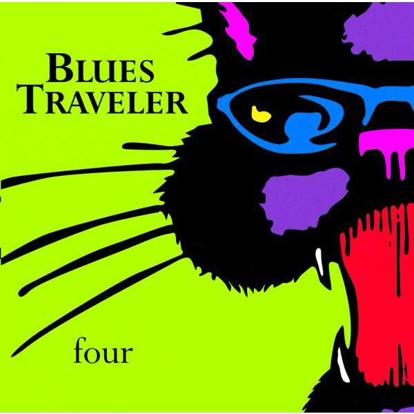 The cover to Blues Traveler's album Four is a striking close-up of a purple jazz cat with a wide open red mouth and blue sunglasses on a green background.