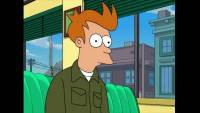 Fry looks bewildered as he sits in a diner