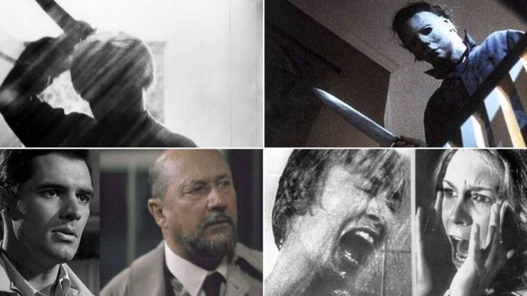 a series of shots from the psycho and halloween movies showing comparisons