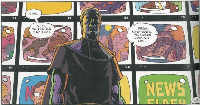 Picture of Ozymandias standing in front of television screens that depict his attack on New York City