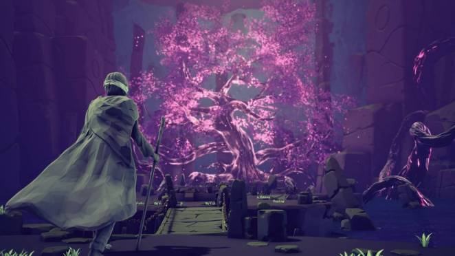a glowing purple tree in sojourn