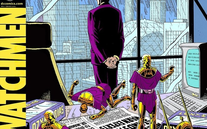 Image from the Watchmen comic of Adrian Veidt action figures on Veidt's desk as he stands in background looking out the window of his high rise office.