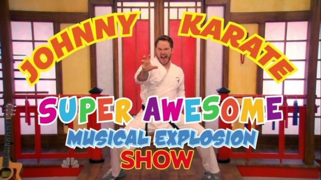 Title card for The Johnny Karate Super Awesome Musical Explosion Show. Johnny strikes a karate pose.