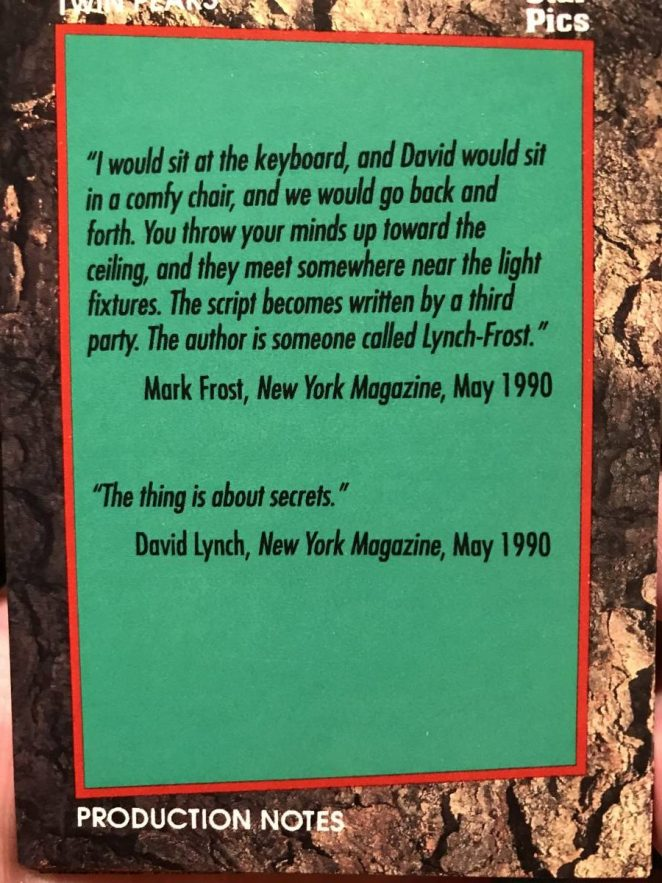 Star Pics Twin Peaks trading card with quotes from David Lynch and Mark Frost about their partnership