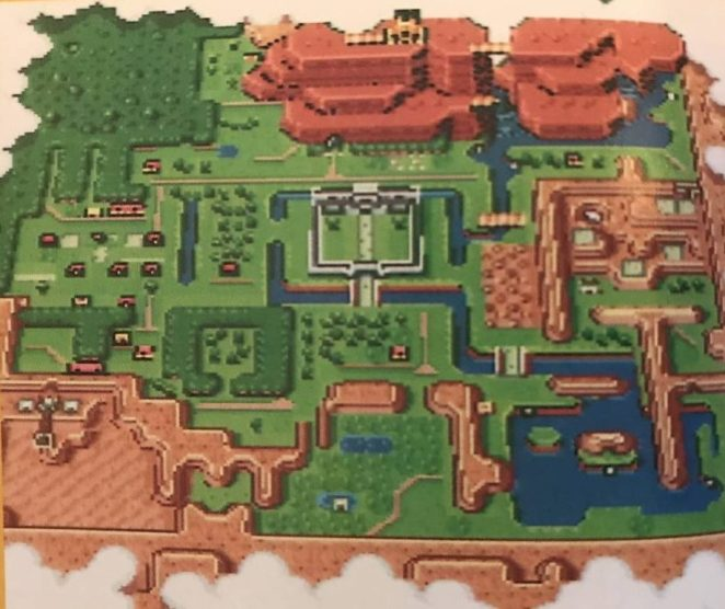 The Link to the Past map screen shows all of Hyrules playable Light World area, from above.