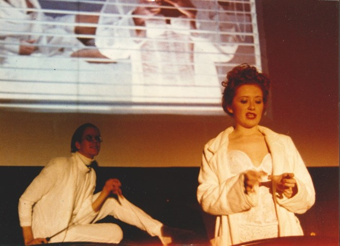 """Kerry D. (as Nation McKinley) and another Shock Treatment cast member perform the """"Lullaby"""" scene from Shock Treatment."""