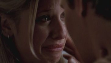 A closup on Buffy sobbing while Buffy and Angel hold each other in their final minute of time together.