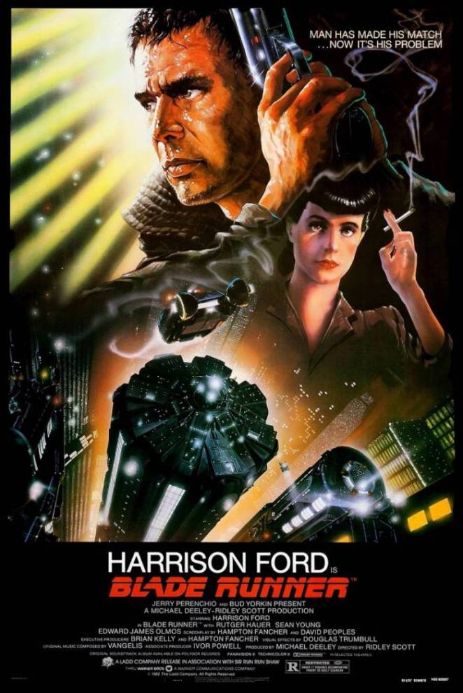 Rick Deckard brandishes his gun above images of the Replicant Rachel who is smoking, both above a futuristic city of flying cars