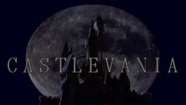 The Castlevania title appears in front of the titular castle, as it is bathed in the light of a full moon