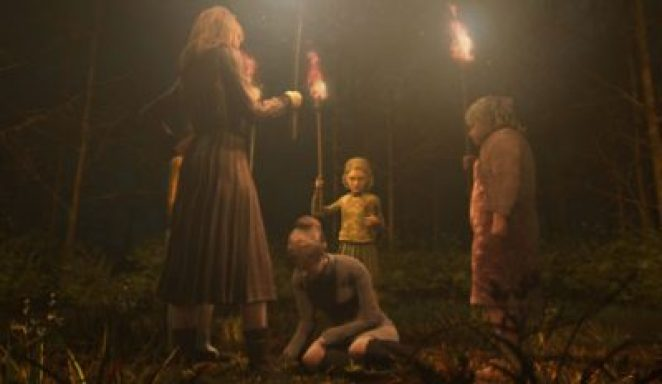 Females holding torches in a field surround a kneeling woman from Rule of Rose