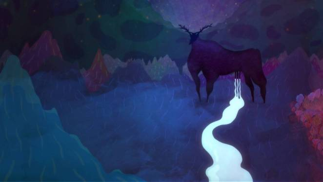 A yak leaks milk from its utters in a colorful mountain forest setting