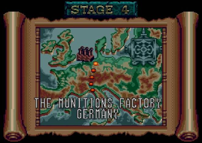 Stage 4 on the map takes you to the Munitions Factory in Germany.