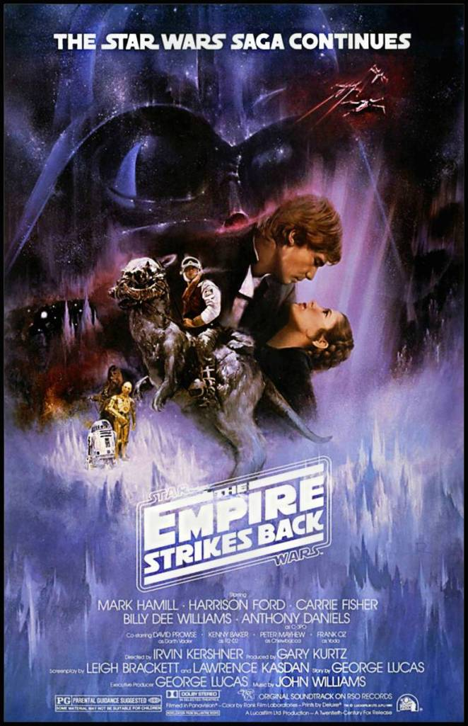 Luke Skywalker rides a Tauntaun creater while Han Solo and Princess Leia romantically embrace over an icy environment while Darth Vader looms in the background