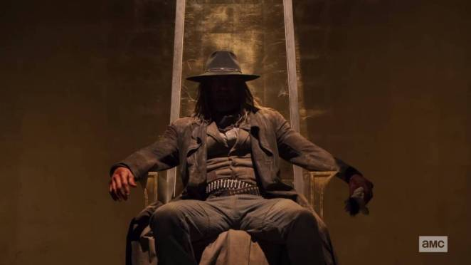 The Saint of Killers sits on the throne of Heaven in Preacher