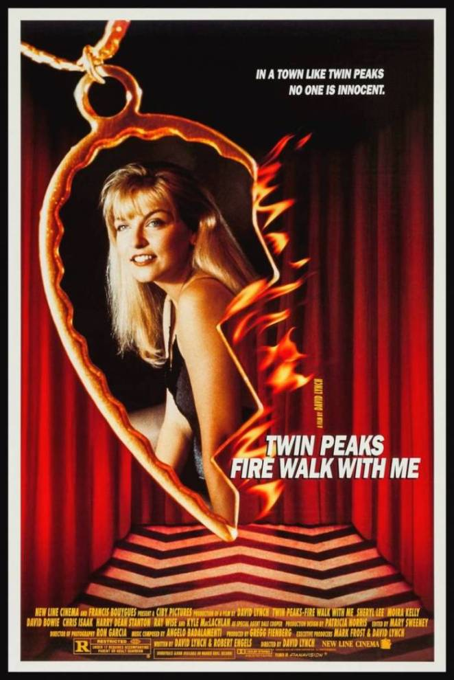 Laura Palmer is seen inside a broken heart bracelet with flames on the side, dangling inside a room with red curtains and a zig-zag patterened floor