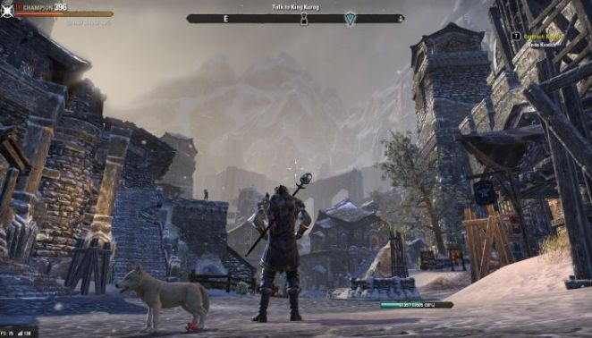 screengrab of elders scrolls online, displaying a character with the hub menu up