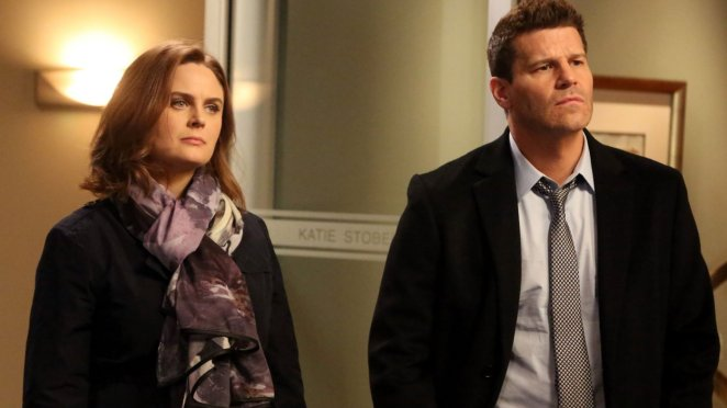 Brennan and Booth, looking quizzical about something