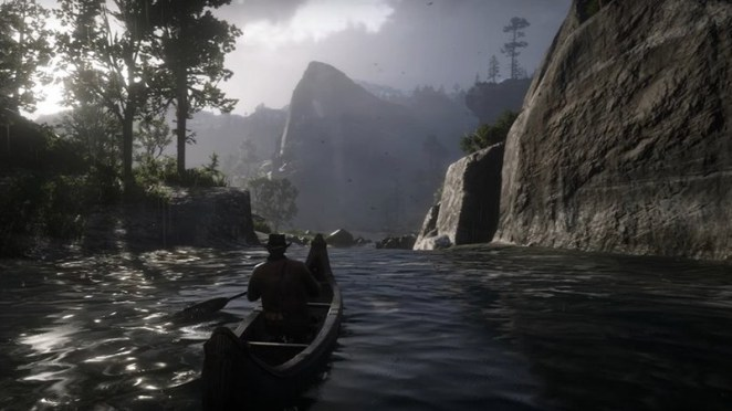 Rowing a boat through gorgeous scenery in Red Dead Redemption 2
