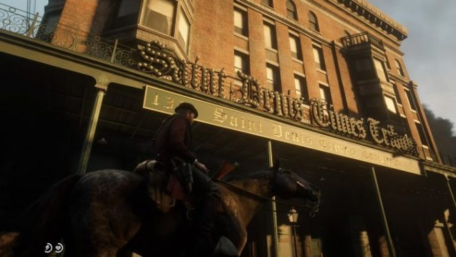 Riding a horse past the Saint Denis hotel
