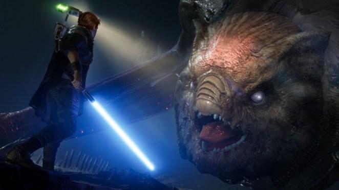 Cal Kestis fights a large beast in Star Wars Jedi: Fallen Order game