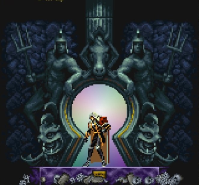 Alucard enters a giant keyhole that serves as a warp zone