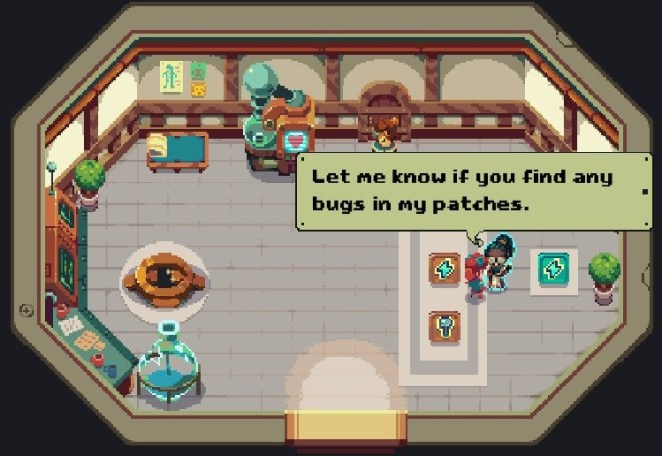 """The med bay lady tells you to """"Let me know if you find any bugs"""" in her patches."""