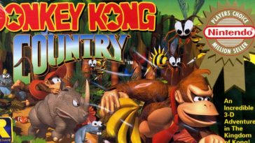 The box art for Donkey Kong Country shows Donkey Kong leading the helper animals and Diddy Kong through the forest.