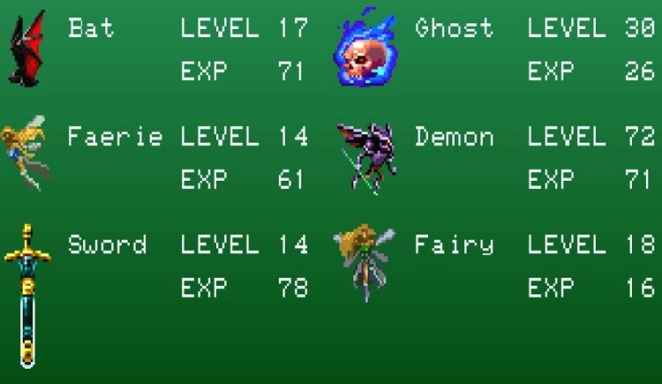 A list of familiars in the game including a ghost, a demon, two fairies, a sword, and a bat