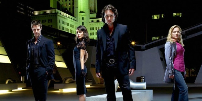 Jason Dohring, Shannyn Sossamon, Alex O'Loughlin, Sophia Myles staring directly at audience while standing on rooftop Moonlight