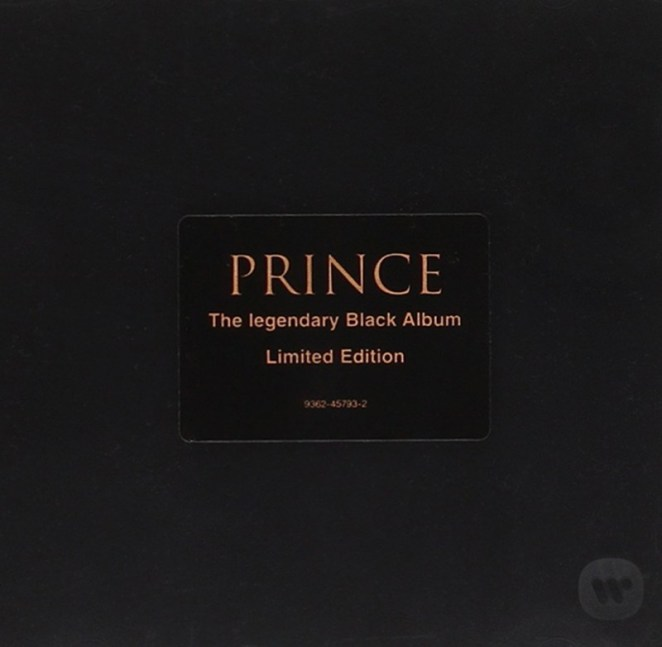 """The album is a black case, with gold printing in the Center of """"Prince,"""" and """"The Legendary Black Album"""" centered and in gold."""