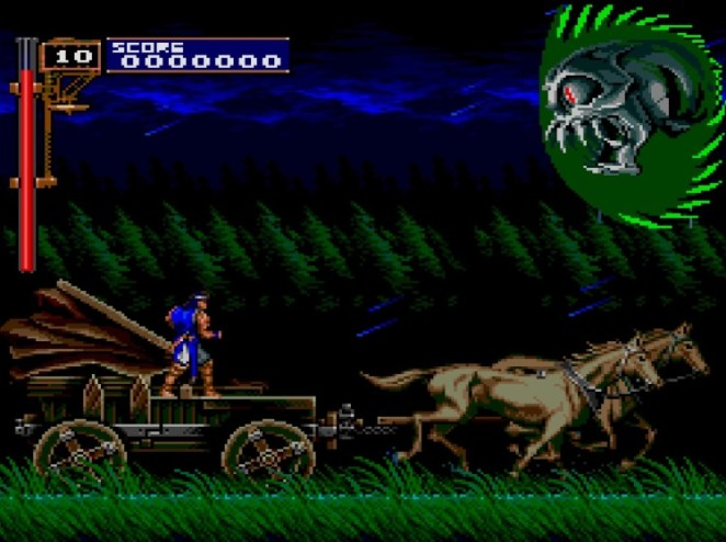 Richter, a young warrior dressed in blue stands on a runaway carriage while a large green demon head flies toward him