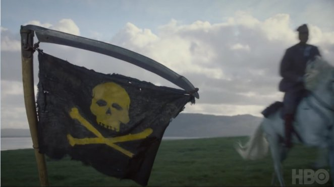 Watchmen - The Lord of a COuntry Manor rides a horse past a pirate flag