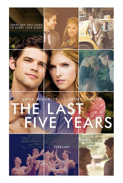 """The 2014 theatrical poster for """"The Last Five Years"""" clusters city and romantic imagery"""
