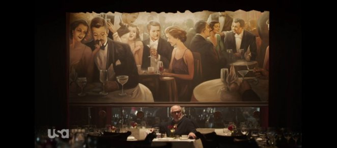Price at a restaurant in front of a painting