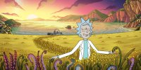 Rick walks happily through a field to his private toilet