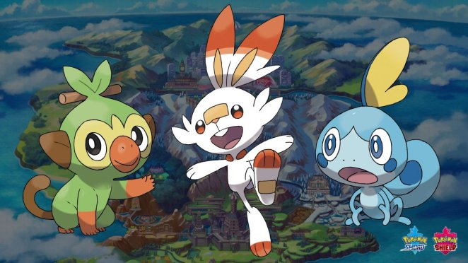 the three starters of the galar region, grookey, scorbunny and sobble